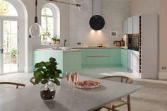 Wren Kitchens unveil gorgeous new pastel kitchen collection Green Kitchen Designs, Latest Kitchen Designs, Kitchen Colors, Kitchen Sale, Home Decor Kitchen, Bar Kitchen, Futuristisches Design, Layout Design, Modern Design