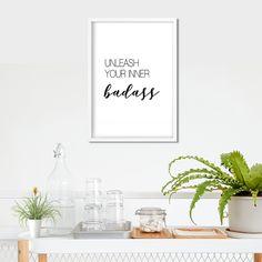 "Minimalist Typography Wall Art ""Unleash your inner badass"", Text Poster, Quote Print, Motivational Quote Typography Prints, Quote Prints, Wall Art Prints, Framed Prints, Framed Quotes, Wall Art Quotes, Rascal Flatts Lyrics, Artist Wall, Lyric Art"