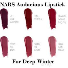 The 12 New Spring Lipsticks You Need To Buy NARS Audacious Lipstick – Deep Winter The post The 12 New Spring Lipsticks You Need To Buy appeared first on Leanna Toothaker. Paleta Deep Winter, Deep Winter Palette, Deep Winter Colors, Winter Typ, Dark Winter, Dark Autumn, Lipstick Colors, Lip Colors, Lipstick Set