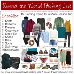 RTW Packing List: Your Ultimate Guide to Packing for Around the World Travel travelfashiongirl. - RTW Packing List: Your Ultimate Guide to Packing for Around the World Travel travelfashiongirl… - Packing List For Travel, Travel Tips, Packing Lists, Travel Hacks, Vacation Packing, Packing Tricks, Travel Destinations, Packing Ideas, Vacation Deals