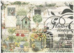 Rice Paper for Decoupage Decopatch Scrapbook Craft Sheet Vintage Flower Garden