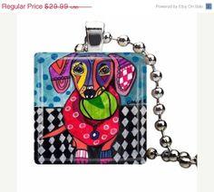 50 OFF  dachshund charm necklace Pendant by HeatherGallerArt, $14.70