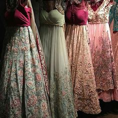 How freaking incredible do these look!!! From @bibildn  @Regrann from @bibildn -  New season bridals from Shyamal Bhumika, let us know your favourites. These pastels with a pop of colour are perfect for the modern bride.  #receptionlooks #bridallooks # #indianfashion #indowestern #ethnicwear #beautiful #embroidery #indianwedding #pakistaniwedding #sikhbride #indiancouture #floral #indiancouture #bibilondon #Regrann