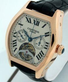 Cartier Tortue Chronograph Tourbillon $205,000.00 RARE 18k Rose Gold watch. #Cartier #LuxurySportStyles