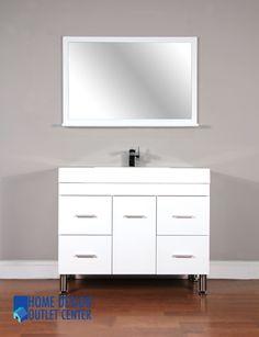 "Fresca 42"" Letaro White Modern Bathroom Vanity  Bathroom Ideas Magnificent Designer Bathroom Cabinet Inspiration Design"