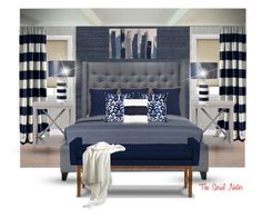 """""""Bedroom Contest-navy"""" by theserialnester ❤ liked on Polyvore featuring interior, interiors, interior design, home, home decor, interior decorating, York Wallcoverings, Élitis, NOVICA and Safavieh"""