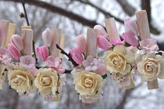 Shabby Chic decorated Clothes Pins set by ilovethis