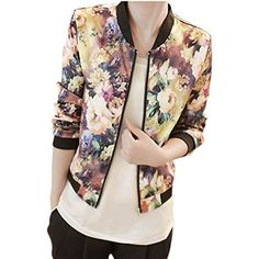 Orangesky Women Stand Collar Long Sleeve Zipper Floral Printed Bomber Jacket -- Review more details @