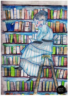 Someone is watching us in the library / Alguien nos vigila en la biblioteca (ilustración de Rachel Smythe)