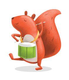 Drum playing squirrel Illustration GIF