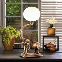 Elephant Globe Lamp Collectible Circus Glass Light Whimsical Home Decor New #HomeLocomotion