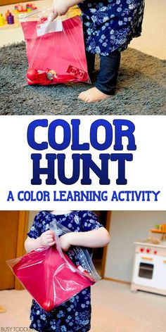 Colors Activity: Color Hunt Learning Colors Activity: Color Hunt - take your toddler on a color hunt in this simple indoor activity!Learning Colors Activity: Color Hunt - take your toddler on a color hunt in this simple indoor activity! Color Activities For Toddlers, Preschool Colors, Teaching Colors, Toddler Learning Activities, Indoor Activities, Infant Activities, Kids Learning, Teaching Toddlers Colors, Cognitive Activities