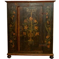 19th c. Bavarian Painted Armoire - Black painted late 19th c Bavarian armoire with decorative floral motif  in greens, orange and yellow.