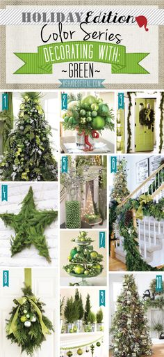 Holiday Color Series; Decorating with Green. Green holiday home decor | A Shade Of Teal