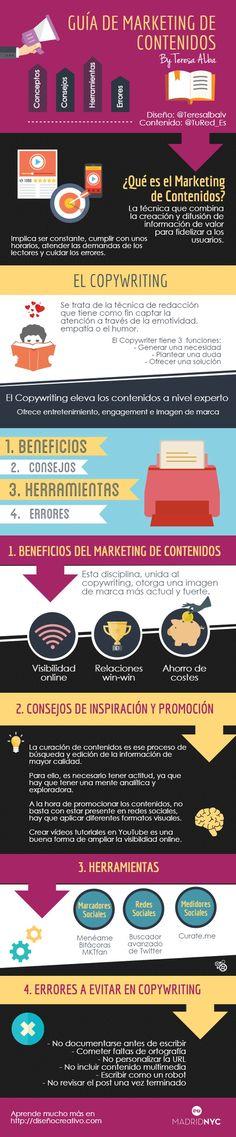 Una Guía de Marketing de Contenidos en formato de infografía. Diversos datos y consejos para conseguir mejores resultados en las técnicas de marketing.