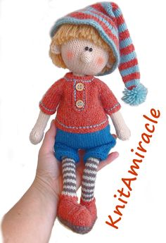 Knitting pattern doll Martin the house Elf #knittingpattern #knitteddoll #knittinforchildren