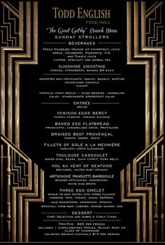 Great Gatsby Menus | This menu from the Todd English Food Hall is quite fabulous and I hope ...
