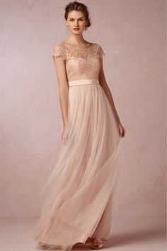 Affordable Price of A-line Scoop Floor-length Tulle Fabric Pink Bridesmaid Dresses UK With Lace Style br50661 UK For Sale