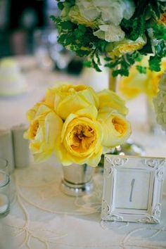 Table Setting combo, yellow, silver and white