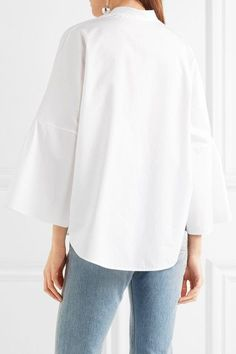 Valentino - Bell-sleeve Cotton-poplin Blouse - White