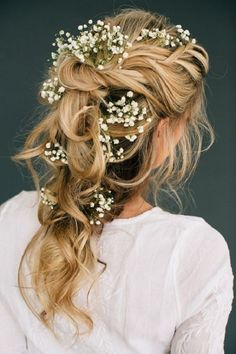 Beautiful half up half down wedding hair + Baby's Breath in Hair - This stunning updos wedding hairstyle for medium length hair is perfect for wedding day. except cover my ears...