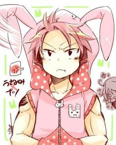 Natsu Dragneel, bunny, rabbit, outfit, costume, jacket, funny, text, Lucy, laughing, blushing, cute; Fairy Tail