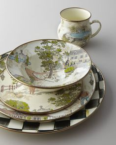 """MacKenzie-Childs """"Aurora"""" Dinnerware  Named after the 65-acre former dairy farm in Aurora, New York, where MacKenzie-Childs is located, this pictorial dinnerware depicts the farmhouse, aviary, garden cottage, and converted barn where MacKenzie-Childs artisans handcraft and paint."""