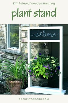 Diy Furniture DIY Painted Wooden Hanging Plant Stand with Chalkboard finished with homeright finish max paint sprayer -Read More – Diy Furniture Projects, Cool Diy Projects, Outdoor Projects, Wood Projects, Outdoor Ideas, Outdoor Stuff, Patio Ideas, Landscaping Ideas, Outdoor Furniture