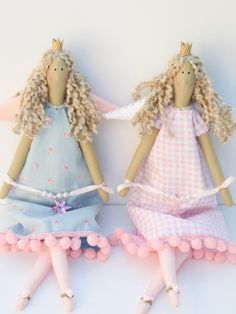Handmade fabric doll, Angel Princess doll - cloth doll pink blue dress blonde,art doll stuffed doll softie plush- gift for girl. $38.00, via Etsy.