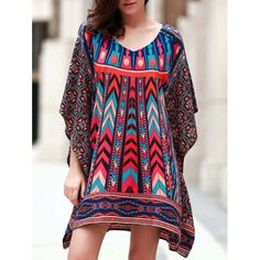 18.56$  Buy now - http://dijis.justgood.pw/go.php?t=174368001 - Vintage 3/4 Batwing Sleeve V Neck Printed Women's Dress 18.56$