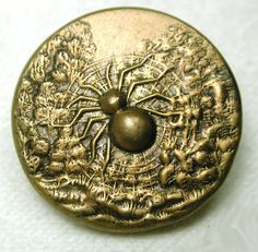ButtonArtMuseum.com - Antique Brass Picture Button Large Garden Spider in Web Design