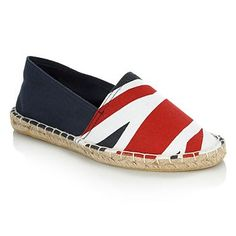These navy espadrilles from Red Herring feature a bold 'Union Jack' print with a rope trim and a panel sole.