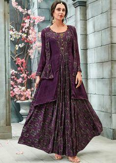 Purple Readymade Printed Maxi Dress Indo Western 397KR03