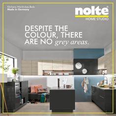 Front: Manhattan Nordic Oak and Lux high-gloss quartz grey. Worktop: Quartz grey finish. #ModularKitchen #Kitchens #Nolte  Visit: www.noltehomestudio.in/kitchens