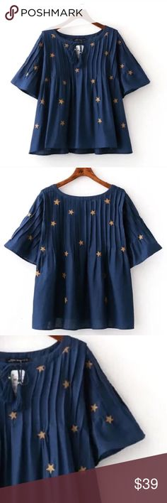 "Embroidered Star print bell shape top .Absolutely breathtaking top with intricate star print and swing style. It is so perfectly current for 2016-2017, perfectly suited for any season. Material: polyester . - [ ] Shoulder/ bust/length - [ ] S:15.4""/40.2""/20.8"" - [ ] M:15.8""/41.7""/21.4"" - [ ] L:16.2""/43.3""/21.8"" Tops"