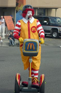 Would you like fries with that? Ronald McDonald on a McDonalds style Segway!