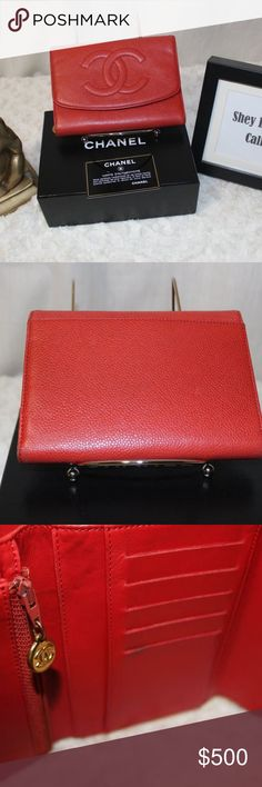 🔷20% OFF🔷 AUTH Chanel Caviar Red Clutch Wallet AUTHENTIC Chanel Caviar  Red Trifold bf1aa2a98ab65