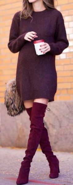 I love these burgundy over the knee boots for Thanksgiving!