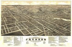 Jackson, Michigan - Panoramic Map (Art Prints available in multiple sizes)