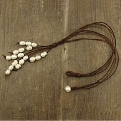 Leather pearl necklacepearl by WangDesignJewelry on Etsy