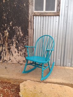 Antique rocking chair lightly distressed in American Paint Company Peacock from the Ellis Collection.