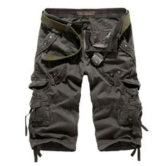 Summer Calf-Length Cargo mens shorts Multi-pocket Solid Colors