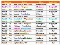 icc world cup 2015 time table