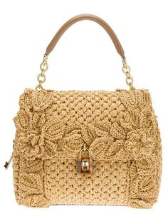 Dolce & Gabbana Sicily Raffia Handbag in Beige (camel) by Divonsir Borges Crochet Handbags, Crochet Purses, Crochet Bags, Bag Sewing, Dolce And Gabbana Handbags, Knitted Bags, Crochet Accessories, Women's Accessories, Beautiful Crochet
