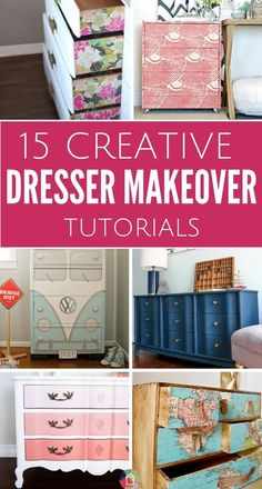 15 Amazing DIY Dresser Projects - 15 Amazing DIY Dresser Projects Have an old dresser laying around? These DIY dresser projects will inspire you to tackle a dresser makeover ASAP. Diy Dresser Makeover, Furniture Makeover, Diy Furniture, Dresser Makeovers, Furniture Design, Dresser Ideas, Furniture Cleaning, Furniture Websites, Furniture Dolly