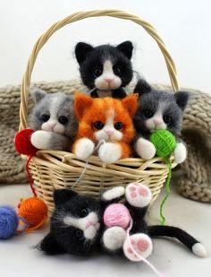 Stuffed animals Amigurumi cat plush dog Pet by OriginalknittedToys Needle Felted Cat, Needle Felted Animals, Felt Animals, Cute Baby Animals, Wet Felting, Sleeping Fox, Chat Crochet, Art Textile, Felt Cat