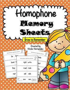 Homophone Memory Sheets are a fantastic way to get your students to  remember the spelling of  confusing homophones. Research has shown that when students use drawings and illustrations with words they make meaningful associations thus facilitating easy recall.