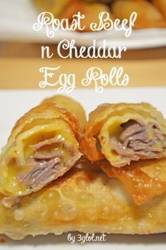 Roast Beef n Cheddar Egg Rolls. Make a new and improved egg roll using roast beef and cheddar. You only need 3 ingredients. Roast Beef n Cheddar Egg Rolls. Make a new and improved egg roll using roast beef and cheddar. You only need 3 ingredients. Wonton Recipes, Egg Roll Recipes, Beef Recipes, Appetizer Recipes, Snack Recipes, Cooking Recipes, Snacks, Meat Appetizers, Tasty