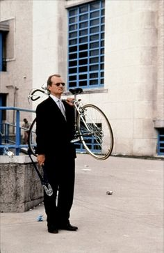RUSHMORE - The part where Bill Murray drives up to the school, steals the bike from where it was locked, carries it to the street, sets it down, backs over it, picks it back up, and carries it back where it came from.