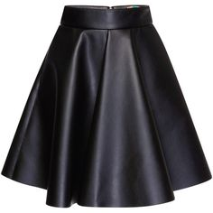 MSGM Eco Nappa Leather Skirt ($420) ❤ liked on Polyvore featuring skirts, mini skirts, circular skirt, mini skirt, black mini skirt, pleated skirt and black skirt
